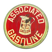 Associated Gasoline More Miles To The Gallon Reproduction Circle Aluminum Sign