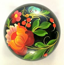 Russian Hohloma Box Wooden Hand Painted Khokhloma Lacquered Vintage Floral Gift