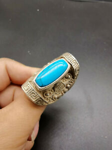 China's old Tibet silver carving flower and turquoise ring