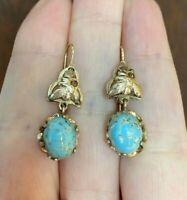 ANTIQUE VINTAGE BLUE STONE 14k GOLD DANGLE EARRINGS  4.2gr, 30x10mm
