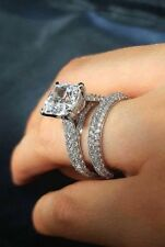 solid 14k white gold 2carat princess cut diamond engagement bridal set ring band