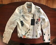 NWT Blank NYC Embroidered And Studded Denim Jacket, Size S