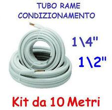 """KIT METRI 10 MT TUBO ROTOLO RAME CONDIZIONAMENTO CLIMATIZZATORE 1/4"""" + 1/2"""""""