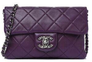 CHANEL PURPLE QUILTED LEATHER MINI FLAP CROSSBODY BAG