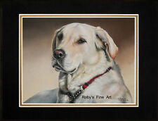 """Matted Labrador Dog """"Forever Faithful"""" 11"""" x 14"""" Mat by Realism Artist Roby Baer"""