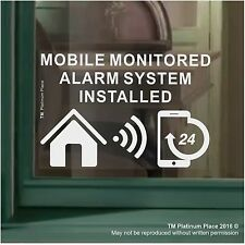 1 x MOBILE Monitored Alarm System Installed-Window Sticker-Warning Security Sign