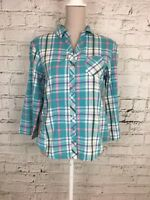 Womens INFLUENCE Blue Checked 3/4 Sleeve Casual Button Front Shirt Top Size 12