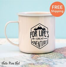 Lifes Great Adventures Enamel Mug Camping BBQ Gardening Metal Vintage Cup Tea