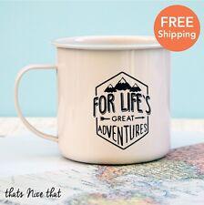 Lifes GRANDI AVVENTURE DELLO SMALTO Tazza Campeggio BBQ giardinaggio in metallo vintage tazze di tè