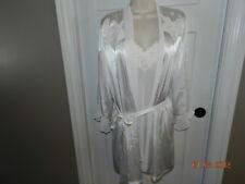 Linea Donatella Bridal Winter White Satin Peignoir Negligee Robe Bust 35 S/M