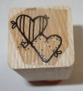 Two HEARTS Rubber Stamp Close To My Heart Love Wood Mounted Stripes Dots Duo
