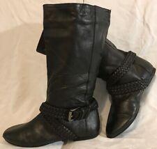 Faith Black Mid Calf Leather Boots Size 4 (404QQ)