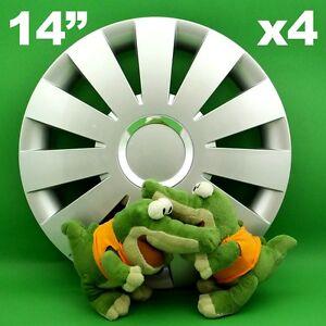 "Radkappen 14""BEAT★4 Stück★SILBER passen für VW Fox Golf Passat Polo SEAT Cordoba"