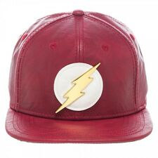 DC COMICS THE FLASH RED FAUX LEATHER PU SNAPBACK HAT CAP LOGO SUIT UP COSTUME