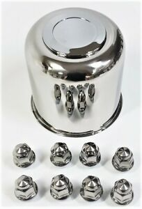 Trailer Wheel Lug and Cap Set. Stainless Steel Hub Cover 8 SS Lugs 4.90in Center