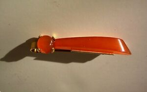 VINTAGE BALTIC AMBER TIE CLIP BAR CLASP GOLD PLATED MARKED RKG