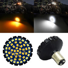 Motorcycle LED Amber+White Turn Signal Light Bulb for 2 inches 1157 Socket Pair