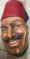 VINTAGE BOSSONS TURKISH 1966 ENGLAND CHALK WARE BUST HEAD GREEN SHIRT RED HAT 1