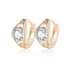 18 k Gold Plated Baby Girl Christening Gift Angel eye Hoops First Earrings E1252