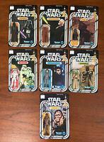 7 Vintage Recarded Star Wars 12 Back Action Figure Lot Obi-Wan Darth Vader Jawa