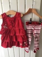 Baby Girl's Clothes 3-6 Months - Jasper Conran Red Corded RaRa Dress & Tights