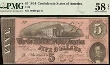 1864 $5 DOLLAR BILL CONFEDERATE STATES NOTE CIVIL WAR PAPER MONEY T69 PMG 58 EPQ