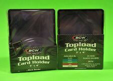 50 TOPLOAD CARD HOLDERS - BLACK BORDER,FOR TRADING CARDS,12M 3 X 4 RIGID PLASTIC