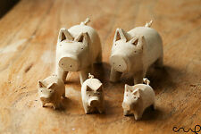 Set of 5 Handcarved Natural Wooden Pig Family Large Little Decorative Craft Gift