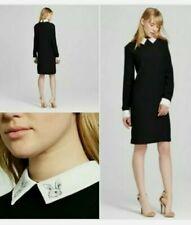 NWT Victoria Beckham Dress Long Sleeve Black Rabbit White Collar Women's Size 1X