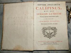CALEPINO DIZIONARIO LATINO GRECO LINGUE LINGUISTICA SETTECENTINE VOCABOLARIO