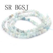 "Jewelry Round Faceted Mixed Aquamarine Gemstone Seed Beads Strand 15""4mm"