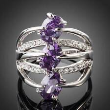 PLATINUM PURPLE CRYSTAL WITH CLEAR CRYSTAL ACCENTS RING SIZE 8.5 #R64