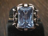 hochwertiger eleganter Art Deco Ring aquamarin Stein blau 835er Silber RG 58