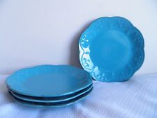 """Lenox French Perle Peacock Blue Set of 4 Salad 9"""" Plates"""