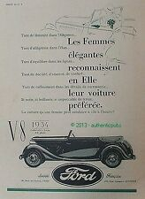 PUBLICITE VOITURE FORD MODELE V8 CABRIOLET LUXE 4-5 PLACES DE 1934 FRENCH AD CAR