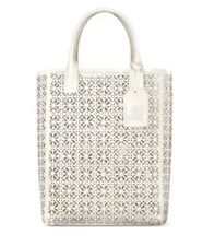 TORY BURCH Large White Ivory Lace Perforated Patent Shopper Tote Handbag NEW
