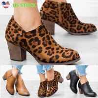 Vintage Women's Med Block Heel Western Zipper Ankle Boots Booties Shoes Size 6-9