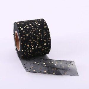 5Yards Glitter Organza Ribbon Bronzing Stars Sequin Wedding Craft Sewing Decor