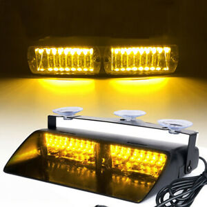 16 LED 12V Car Truck Dash Flash Emergency Warning Strobe Light Amber YellowJ YK
