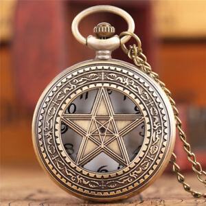 Bronze Hollow Star Design Men Women Quartz Pocket Watch Chain Xmas Gift for Kid