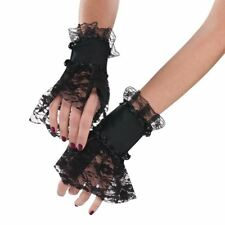 Adult Ladies Gothic Black Lace Gloves Wrist Cuffs Arm Halloween Accessory