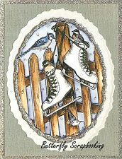 Winter Ice Skates Fence & Birds Wood Mounted Rubber Stamp NORTHWOODS M9861 New
