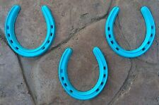 LOT of 3 LARGE Rustic TEXAS TURQUOISE cast iron Horseshoes WESTERN Home Decor