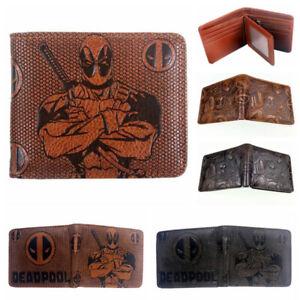 Deadpool Wallet Short Bifold Card Holder Brown Embossing Money Purse Gift