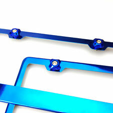 Two Brand New Candy Blue Stainless Steel Frame Screw Cap Bmw Audi Lexus Porsche
