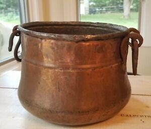 Primitive Antique Rustic Hammered Copper Cauldron Kettle Pot Wrought Iron Handle