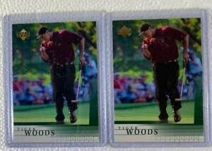 TWO (2) TIGER WOODS 2001 UPPER DECK GOLF ROOKIE CARDS, #1 (UNGRADED)