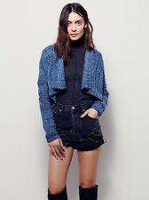 New Free People Captiva Cardi Cardigan Sweater Jacket Shrug Sz L Chambray Combo
