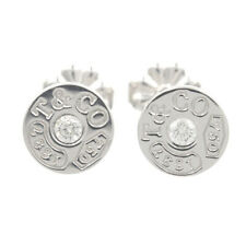 Tiffany & Co. 1837 Circle Diamond Stud Butterfly Back Earrings 18K White Gold