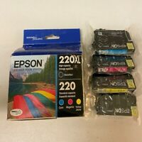 Epson 220XL Black 220 Color Combo Ink Cartridges, Genuine, Plastic Bag is sealed